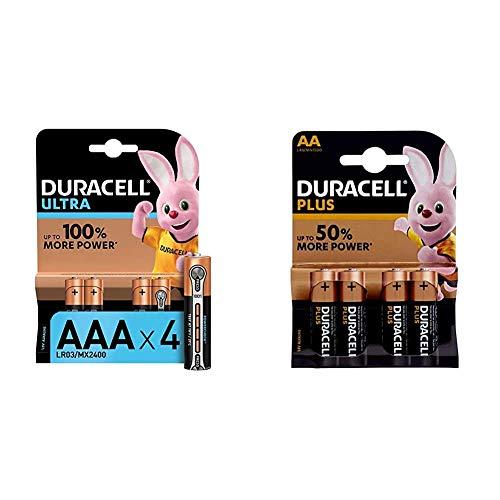 Duracell LR03 MN2400 Ultra AAA con Powercheck - Batterie Ministilo Alcaline & LR06 MX1500 Plus AA - Batterie Stilo Alcaline, Confezione da 4 Pacco del Produttore, 1.5V