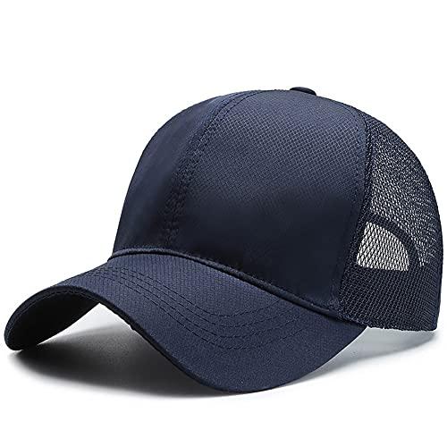 ZRFNFMA Gorra de béisbol para hombre al aire libre de malla transpirable sombrero de sol de color sólido sombrero al aire libre ocio gorra de béisbol azul-talla única