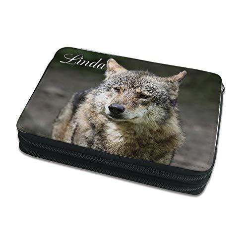 Kinder Federmäppchen mit (Wunsch) Namen, einzigartige Federtasche durch Personalisierung, Schulmäppchen - Motiv Wolf