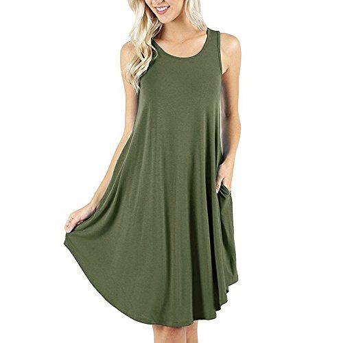 Ansenesna Kleid Damen Sommer A Linie Knielang Elegant Mini Strandkleid Mädchen Ärmellos Sommerkleider Für Party Strand (S, Armee grün)