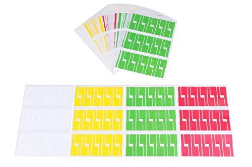 配線 ケーブル 用 防水 防油 手書き 可能 識別 タグ 4色1200枚セット(白 緑 黄 赤) ラベル オフィス 整理 便利 整頓 区別