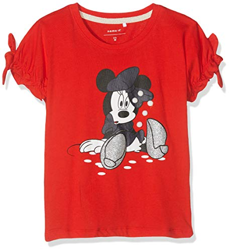 NAME IT Nmfminnie Dory SS Top Box Wdi Camiseta, Rojo (Poppy Red Poppy Red), 98 para Bebés
