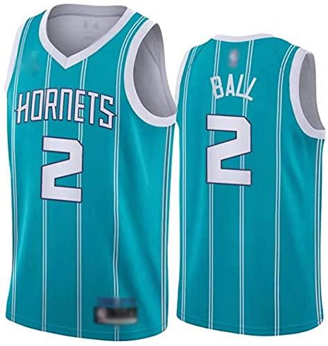 Ropa Jersey de baloncesto para hombres, Charlotte Hornets # 2 Lamelo Ball NBA transpirable y de secado rápido Chaleco deportivo Camiseta sin mangas Uniforme de baloncesto superior, azul claro, XXL (18