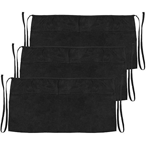 PrimeMatik - Delantal de Camarero 60 x 30 cm Negro de Cintura Corto con 3 Bolsillos 3-Pack