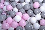 MEOWBABY 200 ∅ 7Cm Kinder Bälle Spielbälle Für Bällebad Baby Plastikbälle Made In EU (200 Bälle/7cm, Weiß/Grau/Pastellrosa)