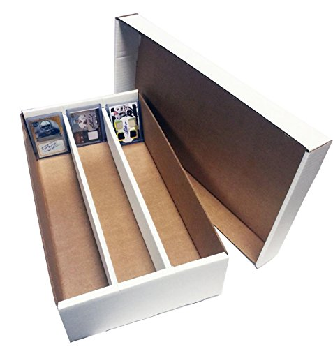 (2) SUPER Shoe 3 Row Storage Box (3000 Ct.) - Corrugated Cardboard Storage Box - Baseball,Football, Basketball, Hockey, Nascar, Sportscards, Gaming & Trading Cards Collecting Supplies by MAX PRO