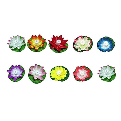 IMIKEYA 10 Piezas de Espuma Flotante Artificial Flor de Loto Luz Led Almohadilla de Lirio Flotante Luz de Loto Ilumina Los Centros de Mesa Bebidas O Peceras (Color Aleatorio)