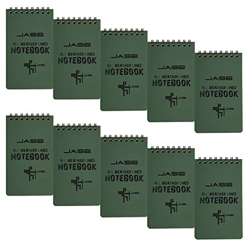 CUGBO 10 Pack Waterproof Notebook, All-Weather Pocket Sized Tactical Notepad, Top Spiral Memo Grid Paper Notepad for Outdoor Activities Recording(Army Green,3.2 x5.5 )