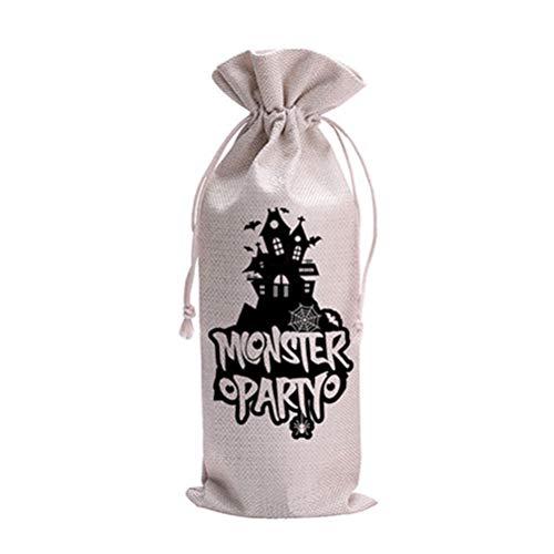 ifundom Decoraciones de Halloween Castillo Diseño de botellas de vino Bolsas de lino reutilizable botella de vino Wrap Bolsas de regalo con cordón Champagne Wine Bag