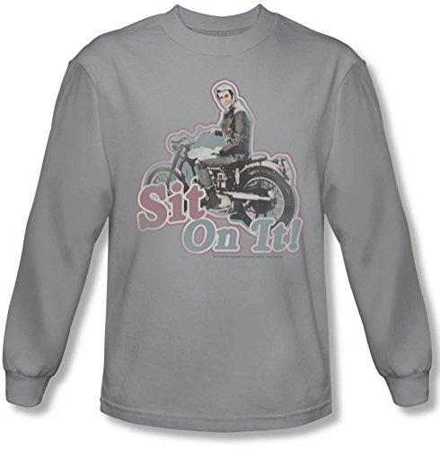 Happy Days - Asseyez-vous des hommes sur le sujet! T-shirt manches longues en argent, Small, Silver