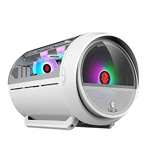 Caso De Juego, Caja De Juegos De PC De La Torre Media M-ATX/ITX - Frente E/S USB 3.0 Puerto - Panel De Vidrio Templado De Vidrio-Agua Instalación De Enfriamiento Listo, Blanco