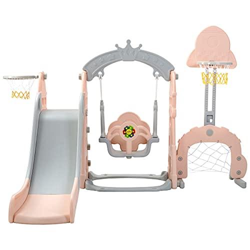 Columpio de jardín para niños, tobogán para niños 5 en 1 con columpio y aro de baloncesto, juego de toboganes para niños de 3 a 6 años