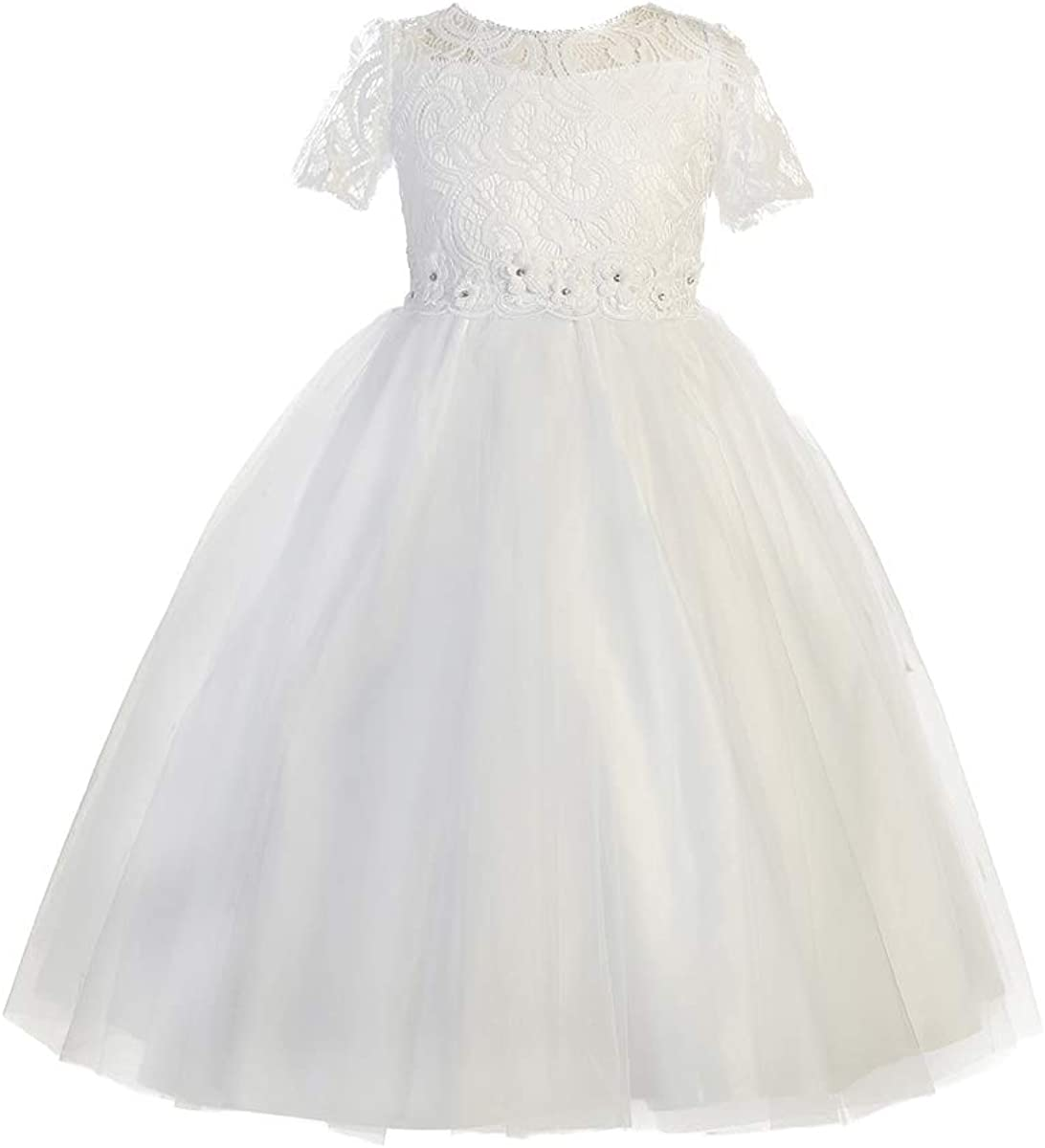 Blossom BL307 Short Sleeve Lace Tulle Dress w/Floral Waistband