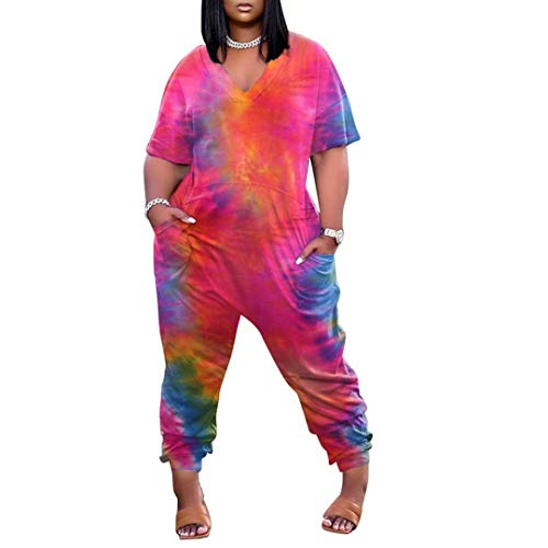 IyMoo Women's Plus Size Casual Solid Short Sleeve Jumpsuit V Neck Stretchy Long Pants Romper with Pockets Tie Dye Red 3XL