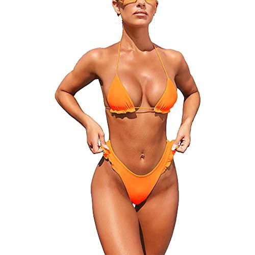 GUANGE Trajes de baño de 2 piezas sin respaldo para mujer, traje de baño con volantes, traje de baño favorecedor anudado, naranja, S