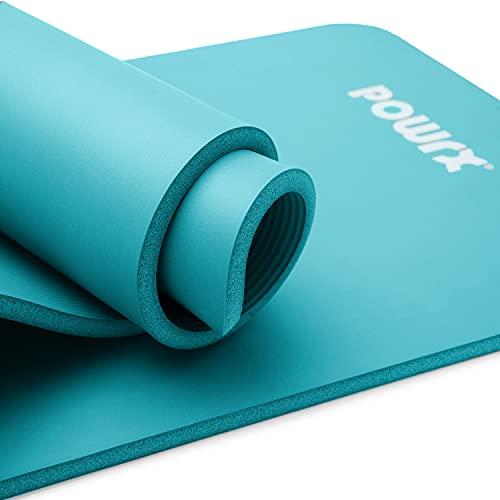 POWRX Gymnastikmatte Yogamatte inkl. Übungsposter I Trainingsmatte Phthalatfrei 183 x 60 x 1 cm I Matte hautfreundlich I versch. Farben (Türkis)