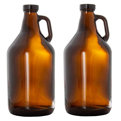 Ilyapa Amber Glass Growlers for Beer, 2 Pack - 64 oz Half Gallon Jug Set with Lids - Great for Home Brewing, Kombucha, Cider & More