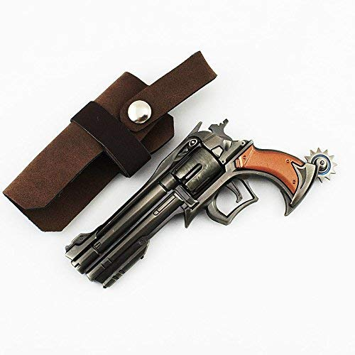 "Gun model Keychains 4.7"" Ow Jesse McCree Cosplay Mini Small Metal Gun Revolver Model Figure Toys Collection Keychains"