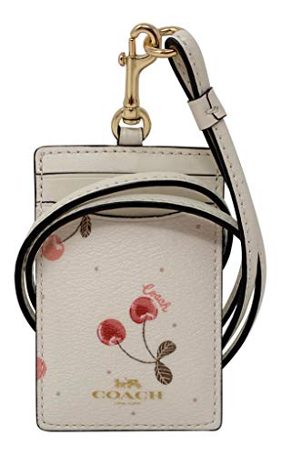 Coach ID Badge Holder Lanyard with Painted Cherry Print