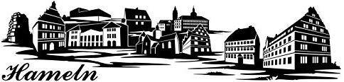 Wandtattoo Skyline Hameln XXL Text Stadt Wand Aufkleber Wandsticker Wandaufkleber Deko sticker Wohnzimmer Autoaufkleber 1M185, Skyline Größe:Länge 120cm