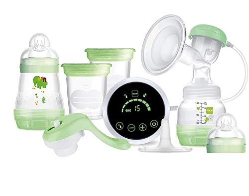 Mam Tire-lait 2 en 1 électrique et manuel, pour l'allaitement maternel, avec biberons et récipients de conservation, 0+ mois