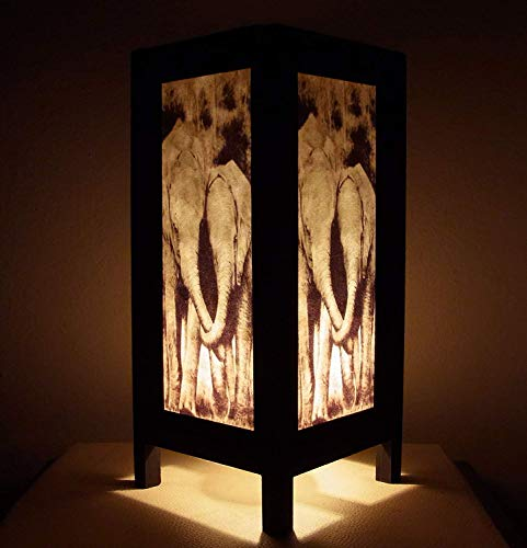 Thai Vintage Handmade Asian Oriental Family Elephant Bedside Table Light or Floor Wood Paper Lamp Shades Home Bedroom Garden Decor Modern Design from Thailand