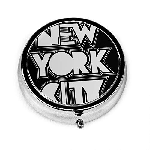Runde Pillendose New York City, personalisierte silberne stahl dekorative Box Medizin Tablettenbox für Tasche oder Geldbörse, einzigartiges Geschenk
