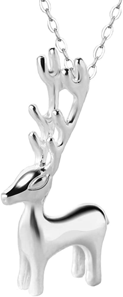 Izpack At the price of surprise Cute Deer Antler Pendant for Necklace 925 Sterling Silver Store