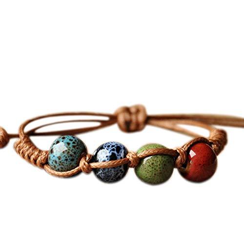 Demarkt Cute Ceramic Beads Bracelet Colorful National Style Bracelets Handweaving Bracelet, Ceramic + wax rope, Style 2, 24 cm