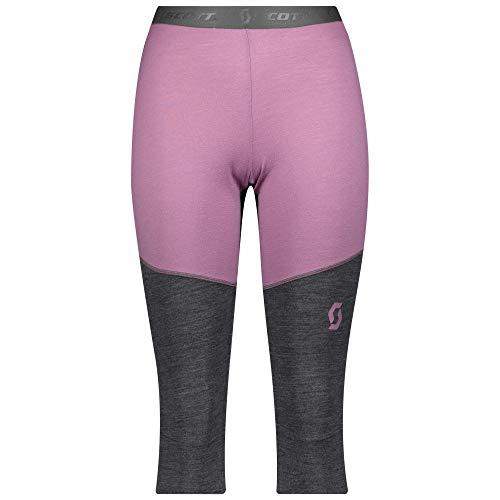 Scott W Defined Merino Pants Colorblock-Grau-Pink, Damen Merino Unterwäsche, Größe L - Farbe Cassis Pink - Dark Grey Mel