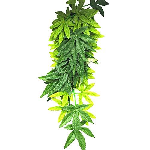 GREENLANS Künstliche Pflanzen, Aquarium-Reptilien-Aquarium-künstliche Gefälschte Hängende Plastikblätter, Gefälschte Anlage Für Büro, Kleines Künstliches Imitat-Grün Für Hausdekorationen Grün 40cm
