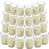 BELLE VOUS Velas en Vaso Cristal (Pack de 24) - Velas Blancas Votivas sin Aroma – 12 Horas Funcionamiento - Portavelas Cristal Transparente Velas de Cera Vertida a Mano – para Bodas, SPA, Hogar