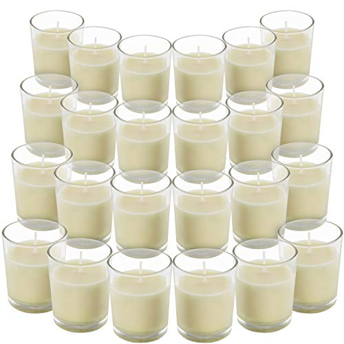 Belle Vous Unscented Clear Glass Filled Votive Candles (24 Pack) - 12 Hour Burn Time - Clear Glass Holders with Hand Poured Warm White Wax Candles - Ideal for Weddings, Spas, Aromatherapy & Home Decor
