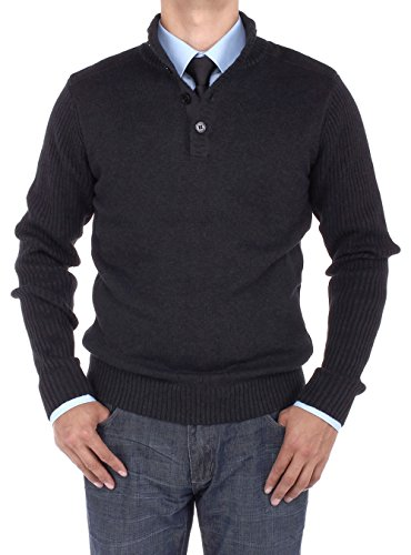 Luciano Natazzi Men's Mock Neck Ribbed Sleeve Quarter Button Sweater Relaxed Fit (XXX-Large, Black)