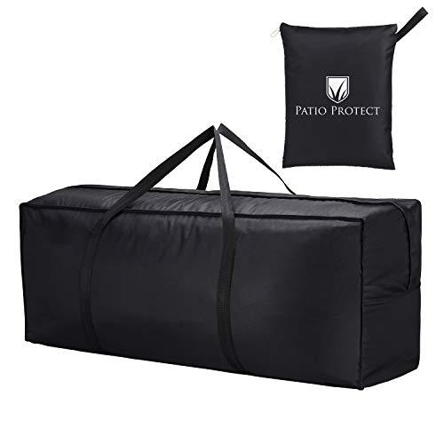 PSD LIFESTYLE - Bolsa de almacenamiento para muebles y cojines de patio, uso en interiores y exteriores, almacenamiento para árbol de Navidad, reloj negro resistente al agua, 116,8 x 35,6 x 50,8 cm