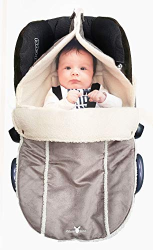 Wallaboo Fußsack, Kuschelig-Weiches Veloursleder, 0-12 Monaten, Universal für Babyschale, Autositz, z.B. für Maxi-Cosi, Römer, für Kinderwagen, Buggy oder Babybett, Farbe: Taupe