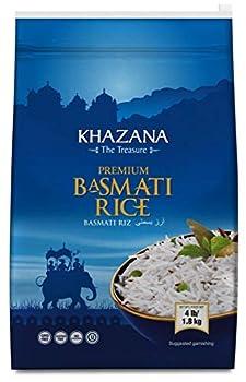 Khazana Premium Basmati Rice - 4lb Resealable Zipper Bag | NON-GMO Gluten-Free Kosher & Cholesterol Free | Aged Aromatic Flavorful Authentic Grain From India