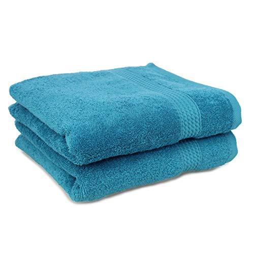 Palleon - Set di 2 Asciugamani ad Asciugatura Rapida, 100% Cotone, 100 x 150 cm Turchese 100 x 150 cm