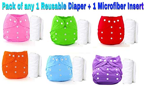 THE LITTLE LOOKERS® Premium Quality Adjustable & Reusable Baby Washable Cloth Diaper Nappies with Wet-Free Inserts for Babies/Infants/Toddlers |Age 0 to 2 Years|Pack of 1 (Random Color)