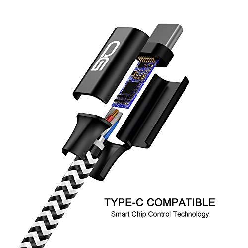 USB Typ C Kabel,QGhappy [4Pack 0.5m 1m 2m 3m] Nylon 3A Fast Charge Sync schnellladekabel USB C ladeKabel für Samsung Galaxy S10/S9/S8, Huawei P30/P20, Google Pixel, Sony Xperia XZ, OnePlus 6T - 5
