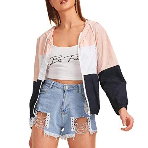 JiaMeng Damen Herbst Winter Hoodies Langarm Sweatshirt Patchwork Pullover Oberteile Dünne Kapuzenpullover Sport Mantel mit Reißverschluss Taschen