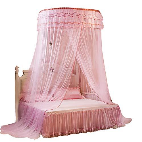 Wifehelper Transpirable Ronda Canopy Encaje Princesa Estilo Mosquitero Cama Cortina Malla Home Dormitorio Decoración(Rosa)
