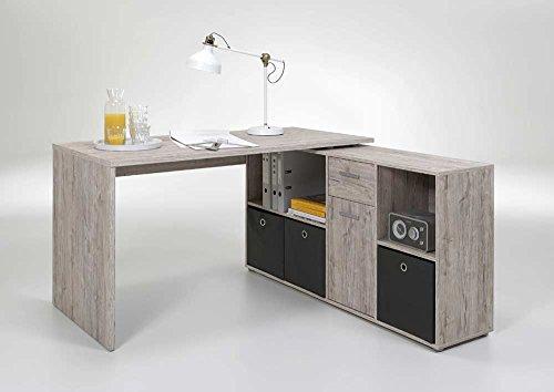 lifestyle4living Praktischer Schreibtisch in Sandeiche-Nachbildung