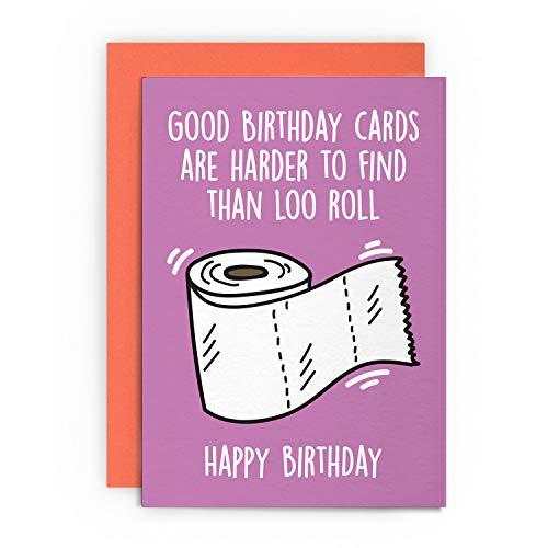 Tarjeta de cumpleaños divertida papel higiénico para marido, esposa, novio, novia, papá, mamá, amigo, saludo feliz para él, su broma, lol más difícil de encontrar que loo rollo