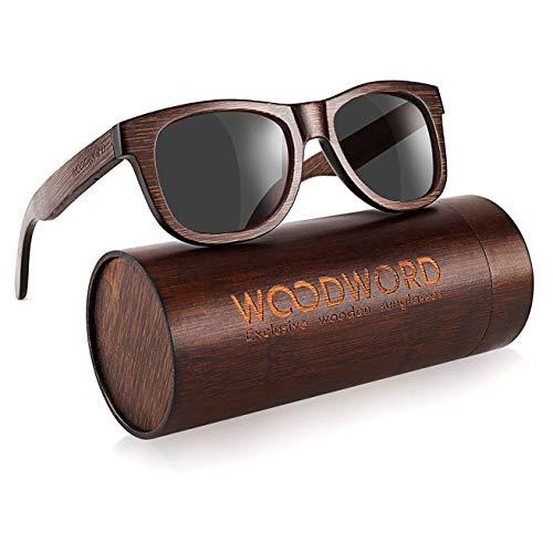 Polarized Wood Sunglasses for Men Women - Bamboo Wood Sunglasses with Wood Case (Black)