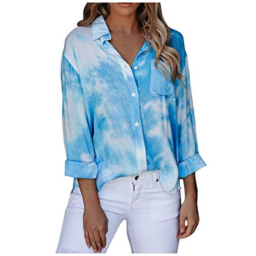 Gofodn Ladies Tops for Women Blouse Casual Plus Size Long Sleeve Tie-dye Printed Button Turn-Down Collar Shirts Blue