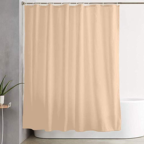 DHGER Duschvorhang MAHENSHANGM Bathroom Shower Curtain Light Apricot Solid Color Home Decor Shower Curtains with Hooks 60