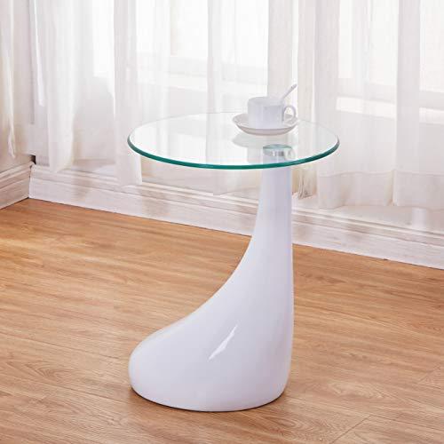 GOLDFAN Mesa Auxiliar Blanco Mesas de Cristal Redondas Mesa de Centro de Alto Brillo Moderno para Sala de Estar Dormitorio de Oficina