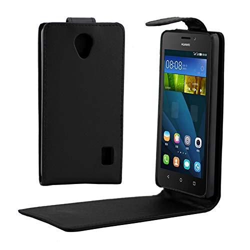 Casos de teléfono de Cuero Casos Ranuras para Tarjetas y Monedero Caso Vertical botón magnético de Cuero del tirón for Huawei Ascend Y635 (Negro) ZRX (Color : Black)