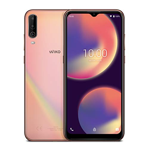 Smartphone 4G sbloccato Wiko View4 (schermo da 6,52 pollici - 3 GB di RAM - 64 GB di spazio di archiviazione - Octa-core - Android 10) - Oro rosa